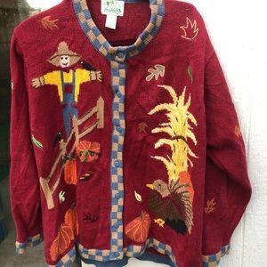 Quacker Factory fall scene cardigan sweater 1X
